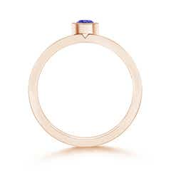 Toggle Bezel Round Tanzanite Stackable Ring with Diamond Accents
