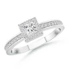 Princess-Cut Diamond Halo Stackable Ring