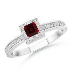 Square Garnet Stackable Ring with Diamond Halo