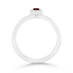 Toggle Square Garnet Stackable Ring with Diamond Halo