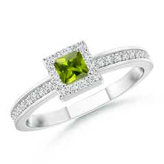 Square Peridot Stackable Ring with Diamond Halo