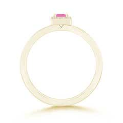 Toggle Square Pink Sapphire Stackable Ring with Diamond Halo