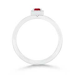 Toggle Square Ruby Stackable Ring with Diamond Halo
