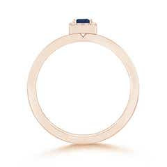 Toggle Square Blue Sapphire Stackable Ring with Diamond Halo