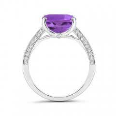 Toggle Solitaire Cushion Amethyst Cocktail Ring with Diamond Accents