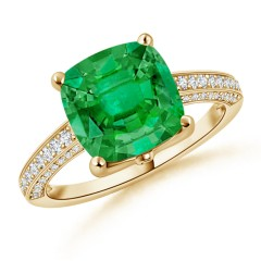 GIA Certified Cushion Colombian Emerald Ring with Diamonds
