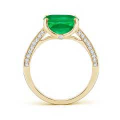 Toggle GIA Certified Cushion Colombian Emerald Ring with Diamonds