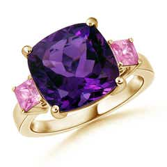 Cushion Amethyst and Square Pink Sapphire Three Stone Cocktail Ring