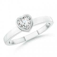 Bezel-Set Solitaire Heart Diamond Promise Ring