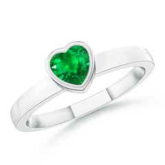 Bezel-Set Solitaire Heart Emerald Promise Ring