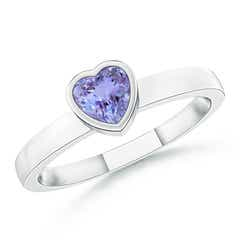 Bezel-Set Solitaire Heart Tanzanite Promise Ring