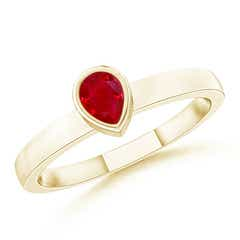 Bezel-Set Solitaire Pear Ruby Stackable Ring