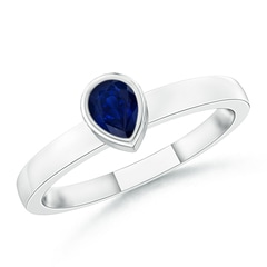 Bezel-Set Solitaire Pear Blue Sapphire Stackable Ring