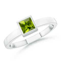 Bezel-Set Solitaire Square Peridot Stackable Ring
