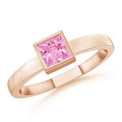 Bezel-Set Solitaire Square Pink Sapphire Stackable Ring