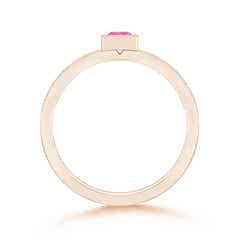 Toggle Bezel-Set Solitaire Square Pink Sapphire Stackable Ring