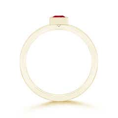 Toggle Bezel-Set Solitaire Square Ruby Stackable Ring