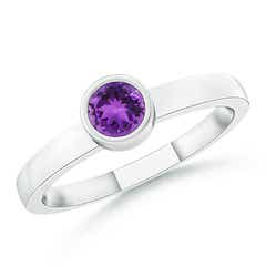 Bezel-Set Solitaire Round Amethyst Stackable Ring