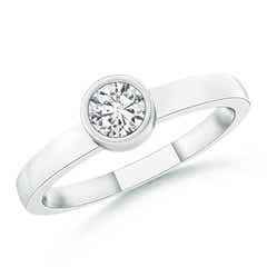 Bezel-Set Solitaire Round Diamond Stackable Ring