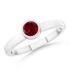 Bezel-Set Solitaire Round Garnet Stackable Ring