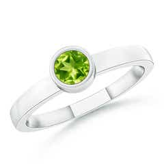 Bezel-Set Solitaire Round Peridot Stackable Ring