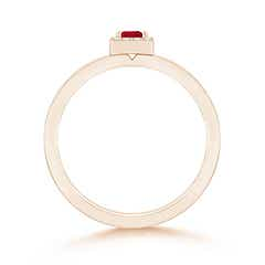 Toggle Square Ruby Halo Promise Ring with Diamonds