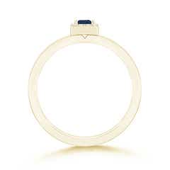 Toggle Square Sapphire Halo Promise Ring with Diamonds