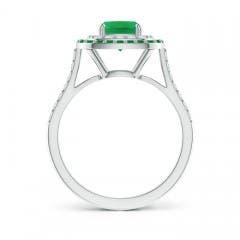 Cushion-Cut Emerald and Diamond Double Halo Ring