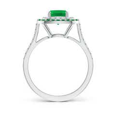 Toggle Emerald and Diamond Double Halo Ring