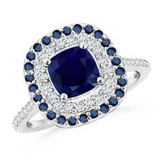 Cushion-Cut Sapphire and Diamond Double Halo Ring