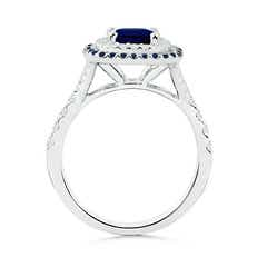 Toggle Blue Sapphire and Diamond Double Halo Ring
