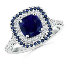 Cushion-Cut Blue Sapphire and Diamond Double Halo Ring