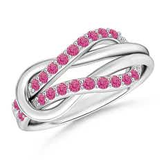 Encrusted Pink Sapphire Infinity Love Knot Ring