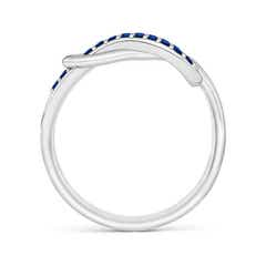 Toggle Encrusted Blue Sapphire Infinity Love Knot Ring