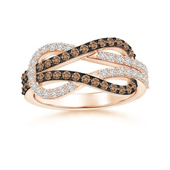 Encrusted Coffee and White Diamond Infinity Knot Ring