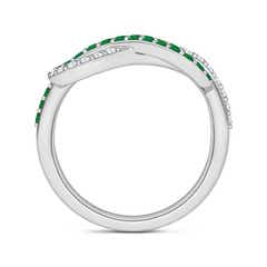 Toggle Encrusted Emerald and Diamond Infinity Knot Ring