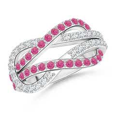 Encrusted Pink Sapphire and Diamond Infinity Knot Ring