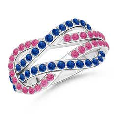 Encrusted Pink and Blue Sapphire Infinity Knot Ring