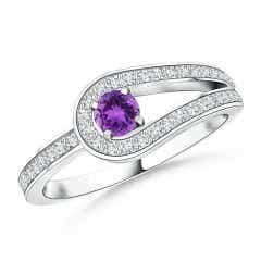 Solitaire Amethyst Knot Promise Ring with Diamond