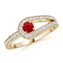 Angara Diamond Framed Halo Ruby Promise Ring in Yellow Gold