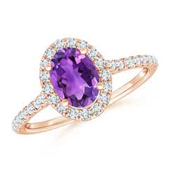 Angara Secured Claw Oval Amethyst and Diamond Halo Ring WIShu