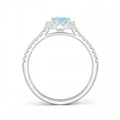 Toggle Oval Aquamarine Halo Ring with Diamond Accents