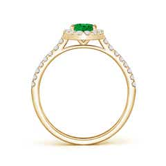Toggle Oval Emerald Halo Ring with Diamond Accents