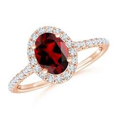 Angara Triple Shank Oval Garnet and Diamond Halo Ring AtTUj