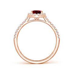 Toggle Oval Garnet Halo Ring with Diamond Accents