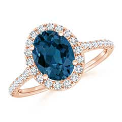 Oval London Blue Topaz Halo Ring with Diamond Accents