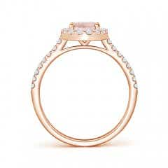 Toggle Oval Morganite Halo Ring with Diamond Accents