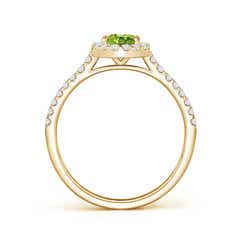 Toggle Oval Peridot Halo Ring with Diamond Accents