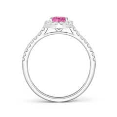 Toggle Oval Pink Sapphire Halo Ring with Diamond Accents