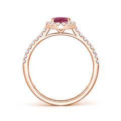 Toggle Oval Pink Tourmaline Halo Ring with Diamond Accents